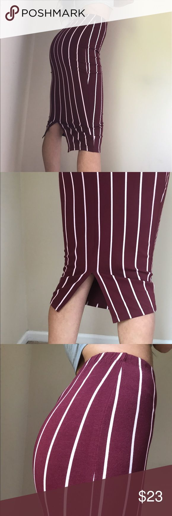 NEW ASOS Red Striped bodycon midi skirt NEW with tags! Never worn outside!  ASOS brand high quality  Midi below knee length skirt Size 0 Red+striped  Back slit  Body-con stretchy fit  95% Cotton, 5% Elastane Thin, elastic waist band Very stylish, sleek and SEXY! Form fitting and flattering! Pair with a crop top and sneakers for a cool, funky concert/festival look! OR pair with a sexy body suit and stilettos for a girls night out! ASOS Skirts Midi
