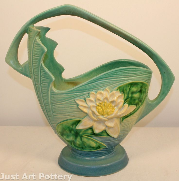 Roseville Pottery Water Lily Blue Basket 382-12 from Just Art Pottery