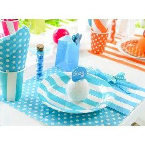 Assiette carton rayée blanc turquoise 23 cm les 10, vaisselle jetable pas chère, mariage, fêtes, anniversaire, Assiette rontde à rayures