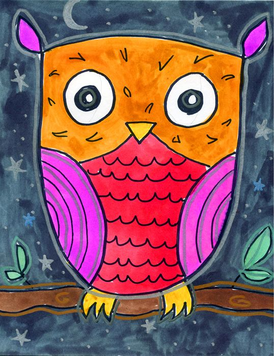 How to Draw an Owl. A tutorial for very young artists. PDF download is available.