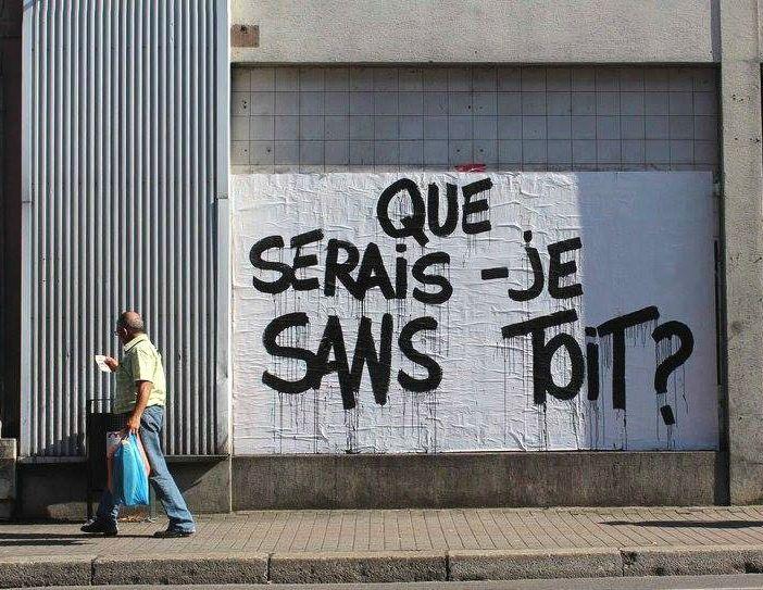 """Détournement du texte chanté par Ferrat"""" Que serais-je sans toi ?"""" / Street art. / By Pierre Fraenkel."""