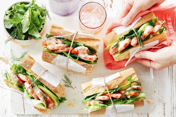 For the ultimate summer roll try these fresh prawn cocktail baguettes.