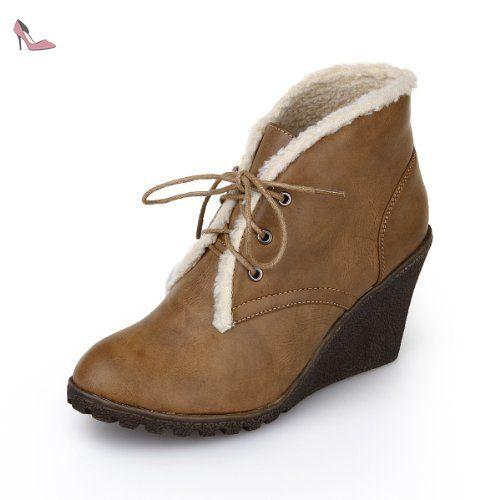 Alexis Leroy Bottes compensées en fausse fourrure à lacets femme Chameau 36 EU / 3 UK - Chaussures alexis leroy (*Partner-Link)