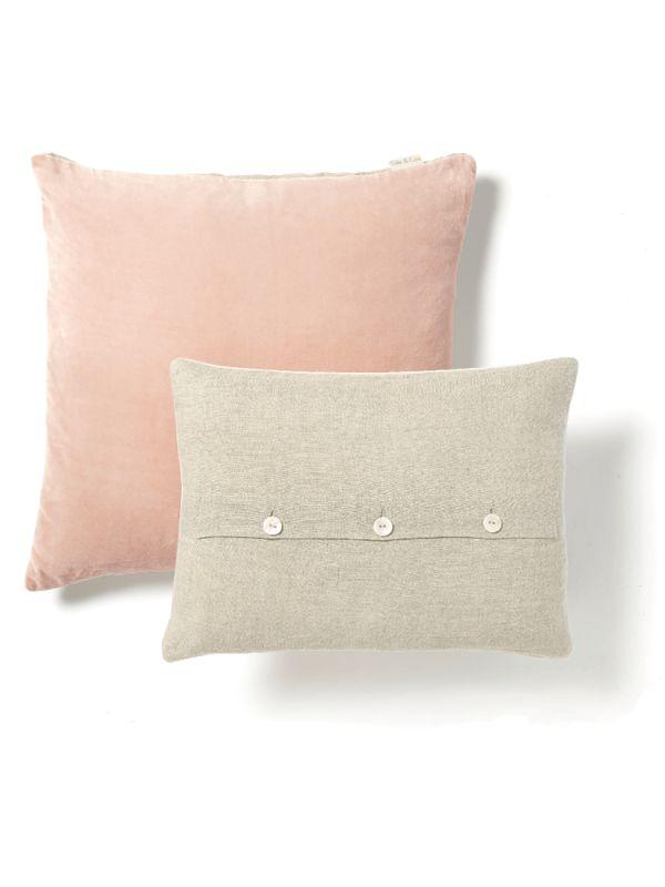 Velvet & Linen Cushions - Blush
