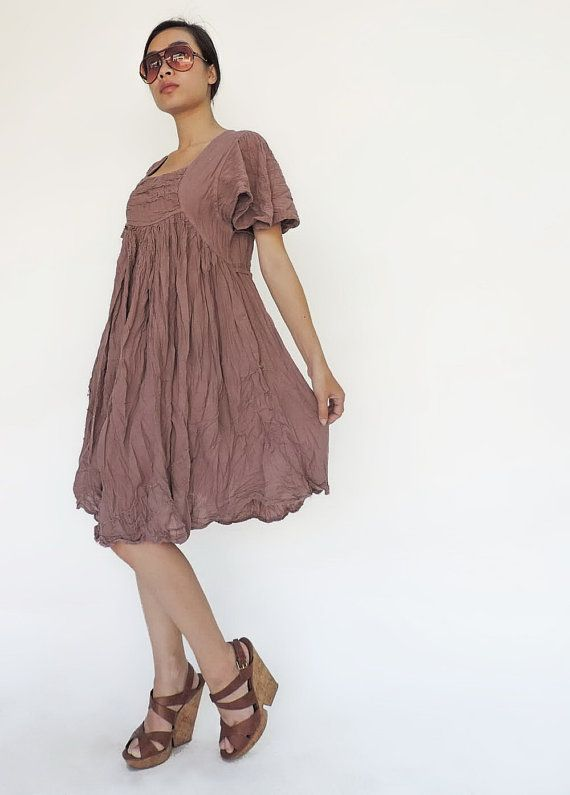 NO.9 Dusty Pink Cotton Bell Sleeves Tonic Dress by JoozieCotton, $40.00