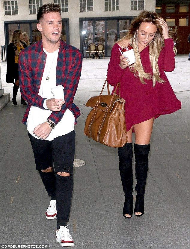 Sharing a smile: Laughing and joking around as they headed out on promotional duties for the new series of Geordie Shore, Charlotte and her former flame appeared to be on friendly terms