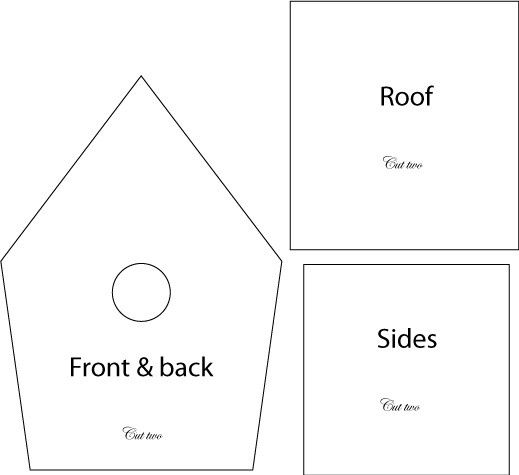 Birdhouse template for wood of clay,: