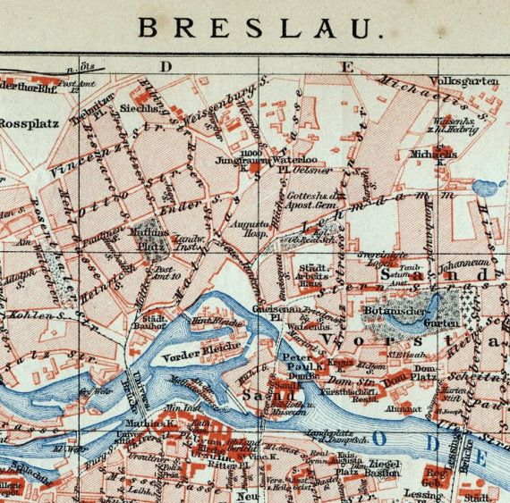 1894 German Antique City Map of Breslau / Wroclaw , Poland by bananastrudel