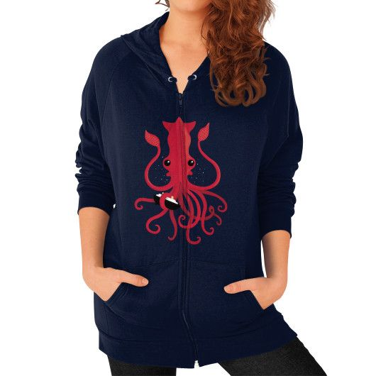 Kraken Attaken Zip Hoodie (on woman)