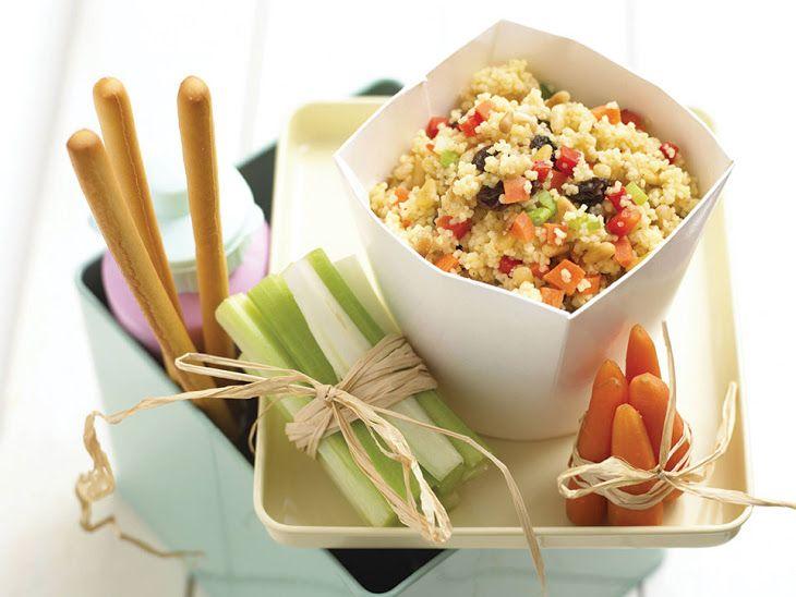 Couscous Salad Recipe Salads with couscous, vegetable stock, red pepper, medium carrot, spring onions, raisins, pinenuts, olive oil, lemon juice, honey, salt, pepper