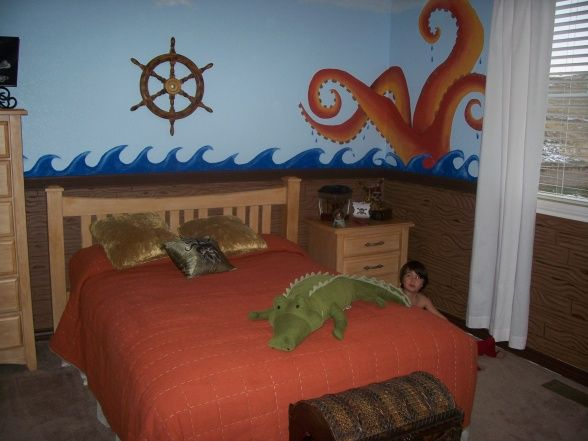 Boys understairs nook-Pirate Room, Pirate room theme for my 3 year old.  My sons room is the inside of the pirate ship.  The planks (the bottom half) is part of t...