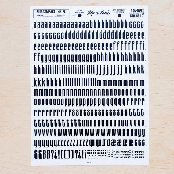 SUB-COMPACT 48pt Letraset Rub on Letters Transfers Dry Transfer Lettering Letter Sheet Computer Font Type DIY Invites Lowercase L166