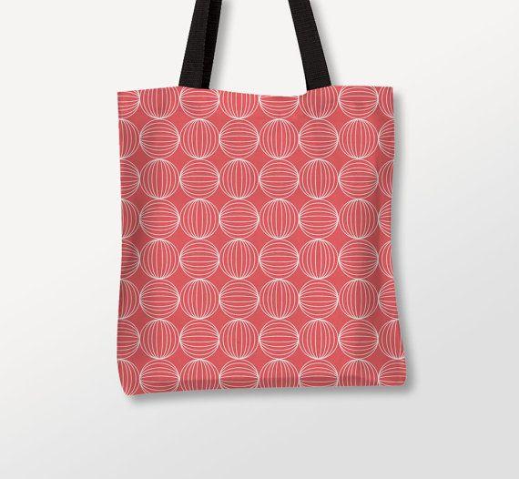 Minimal Tote, Graphic Bag, Coral Color, Custom Bags, Circles Tote