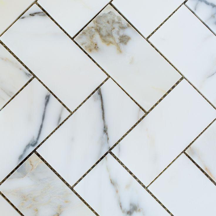 Designer Marble | Calacatta Gold Herringbone Mosaic Large