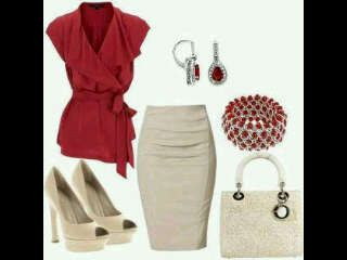 Red wrap over shirt with cream pencil skirt