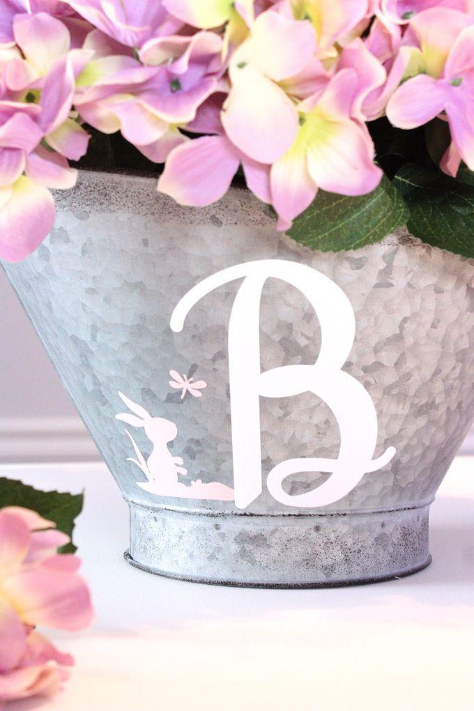 Hydrangea Flower Arrangement With Monogram Galvanized Basket - DIY Tutorial @joannstores