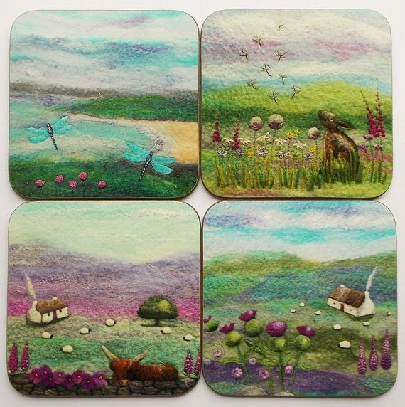 Set of Four Printed Coasters by AileenClarkeCrafts £14.95 https://www.etsy.com/uk/listing/481364397/scottish-coasters-set-of-four-printed?ref=shop_home_feat_4