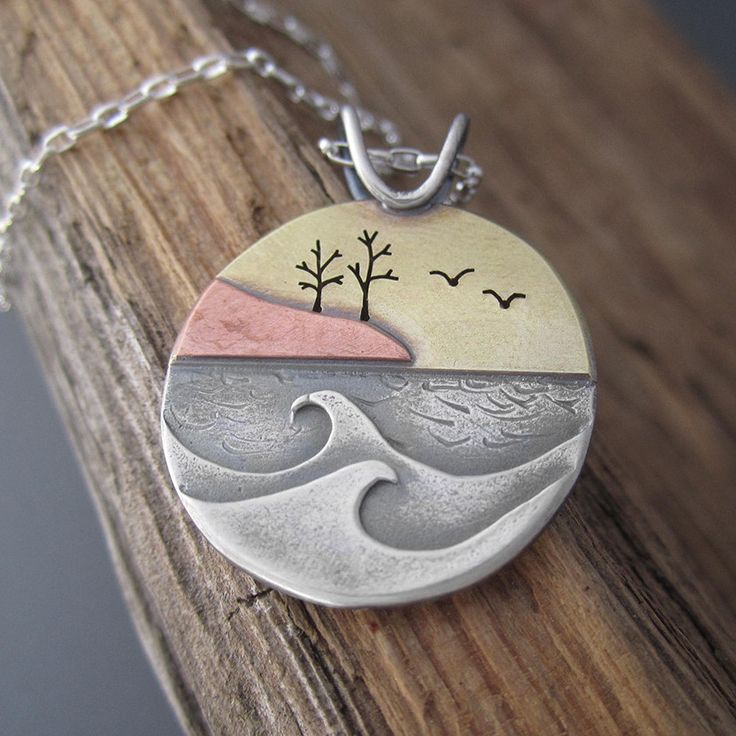 Autumn Sunset Shoreline Mixed Metal Pendant
