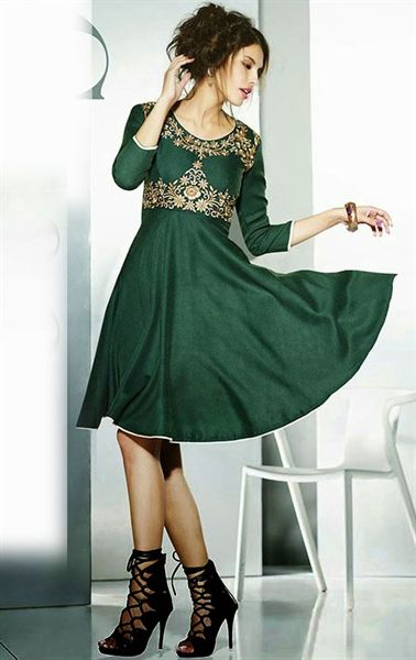 Tranquil Bottle Green Color Fashion Tunic