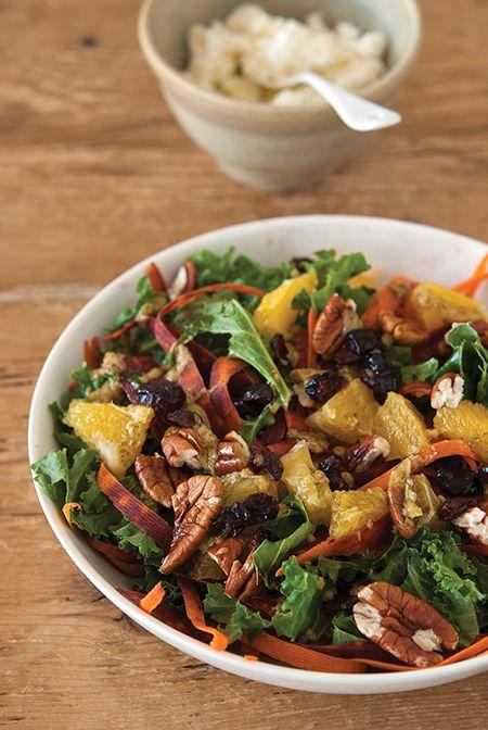 Salade de chou Kale carottes orange cranberries