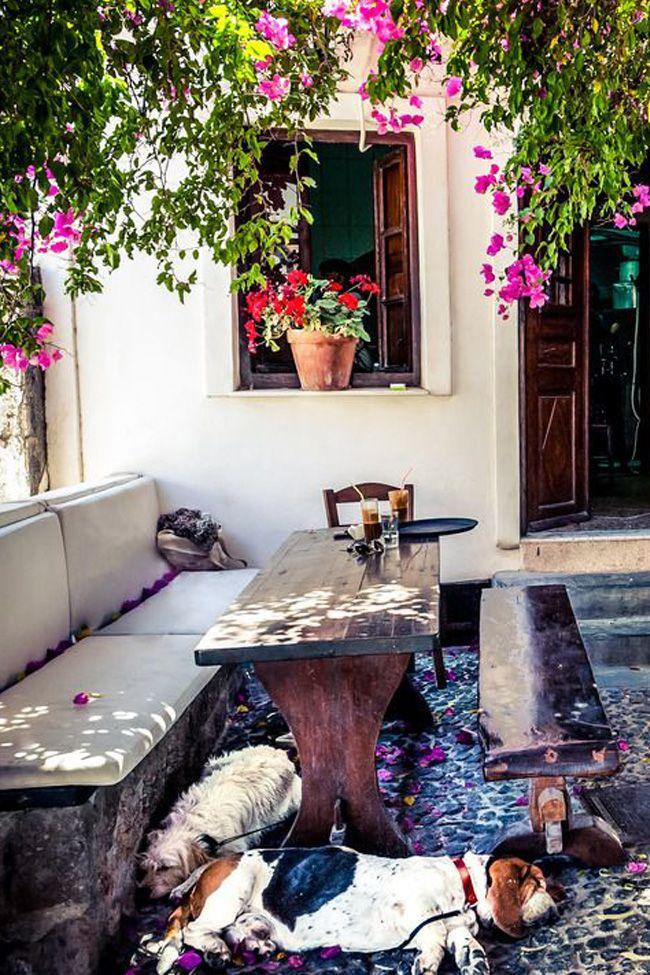 Siesta Time at Raki Tavern - Megalohori, Santorini, Greece