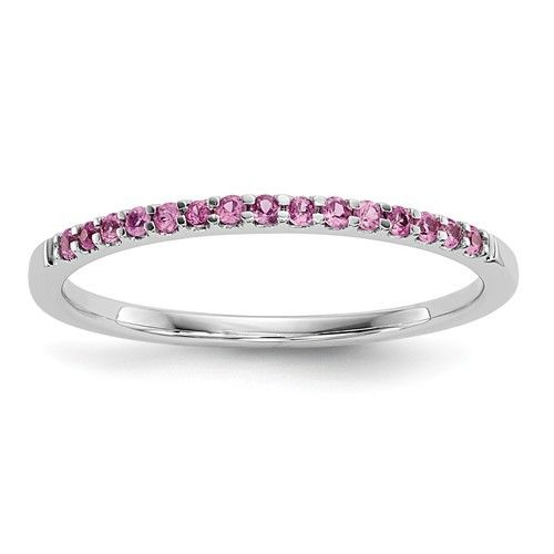 - Metal Material: 14k White Gold - Average Weight: 1.05gm - Stone Type: Pink Sapphire - Stone Creation Method: Natural - Stone Weight: 0.13ctw Please allow 5-10 additional business days for custom siz