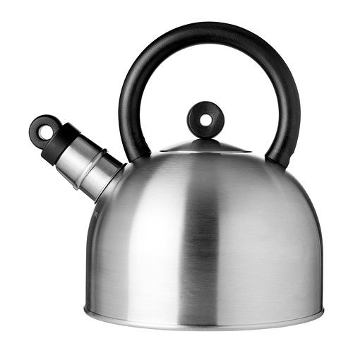 VATTENTÄT Kettle IKEA Whistle function when water boils. Made from stainless steel; impact-resistant and easy to clean.