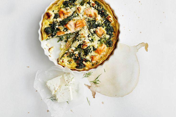 Lachs-Kartoffel-Quiche mit Spinat