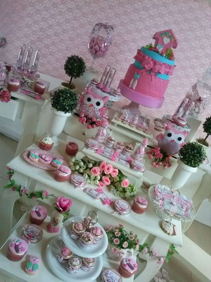 Pretty pink dessert table at an owl birthday party! See more party ideas at CatchMyParty.com!