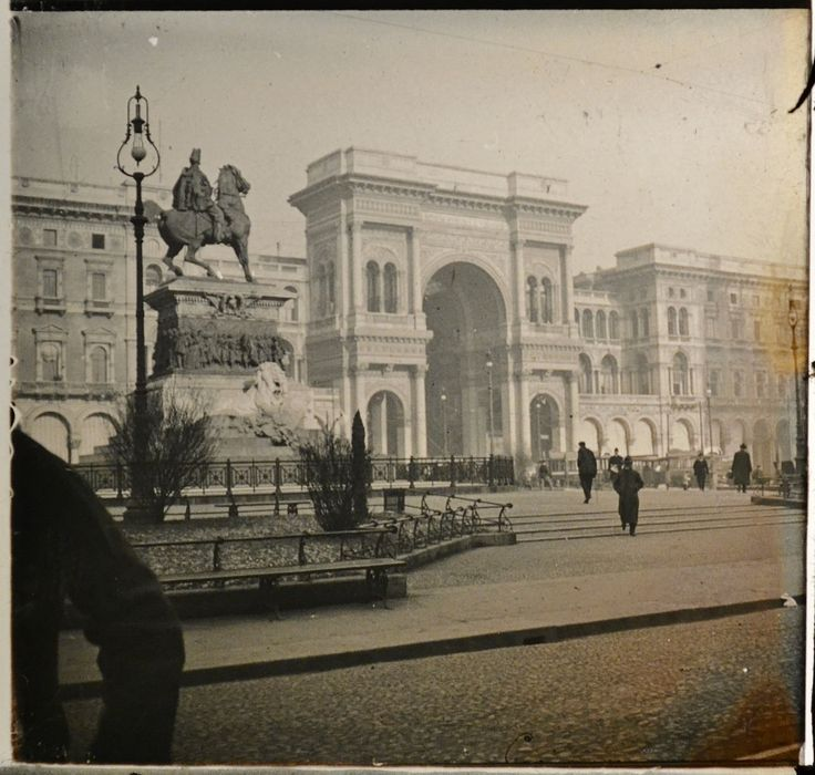 Victor Emmanuel II in Milan. These old photos were taken by an amateur photographer during his trips to England and Europe with the family from 1907 to 1922. They docume...