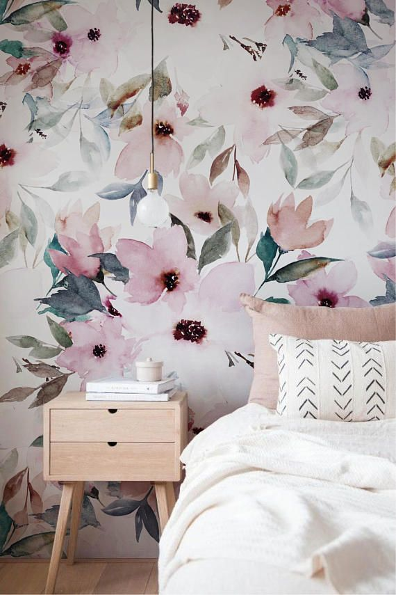 Floral Design Wall Mural Watercolor Wall Covering Floral Etsy In 2021 Floral Wallpaper Bedroom Floral Design Wallpaper Wall Design