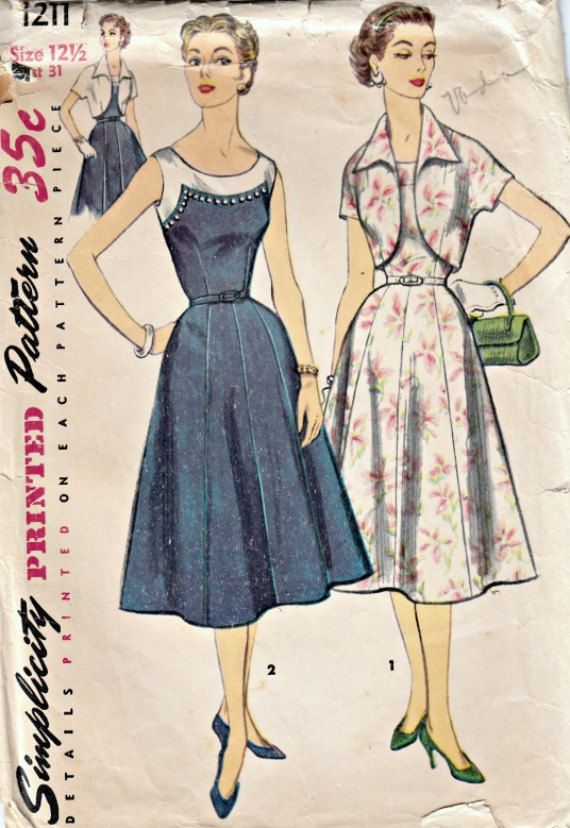 50s Dress and Crop Jacket Pattern  SIMPLICITY 1211  1955 Vintage Dress and Jacket Pattern  Eight Gore Skirt  Bust 31