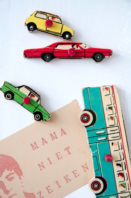 vintage wood puzzle pieces made into magnets  - so retro cool!
