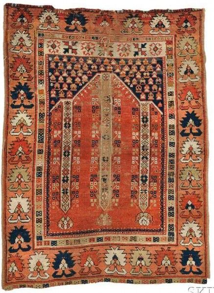Lot 3, a West Anatolian Prayer Rug, dated 1890, 4 ft. 5 in. x 3 ft. 4 in. Skinner's 'Fine Oriental Rugs & Carpets' 28 September 2014