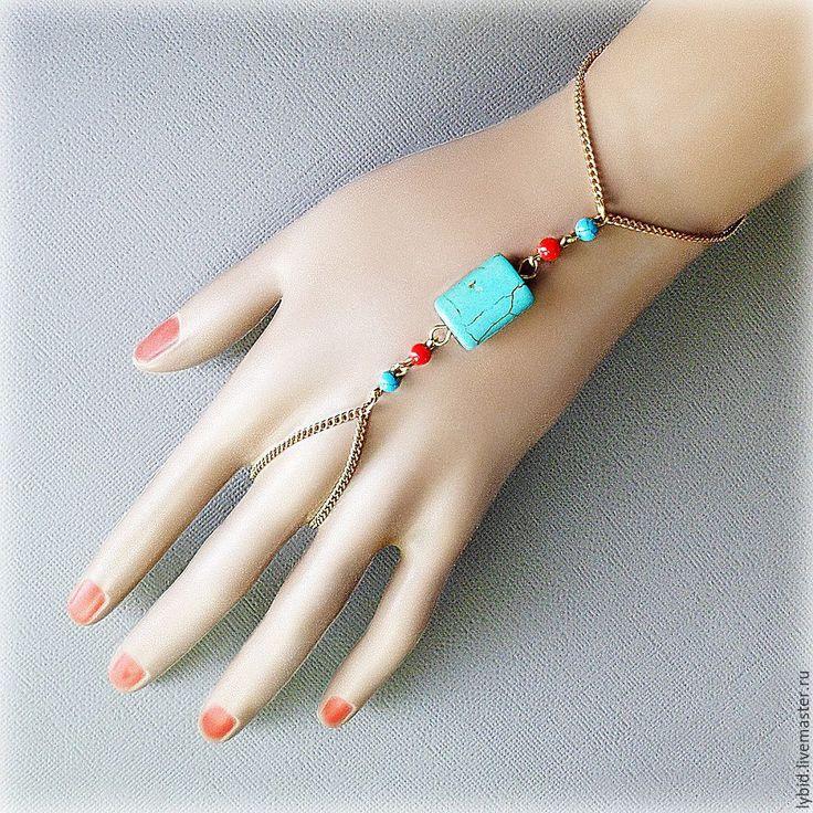 Купить Слейв-браслет из цепочек под золото с бирюзой и кораллами. - слейв-браслет, слейв браслет  $19