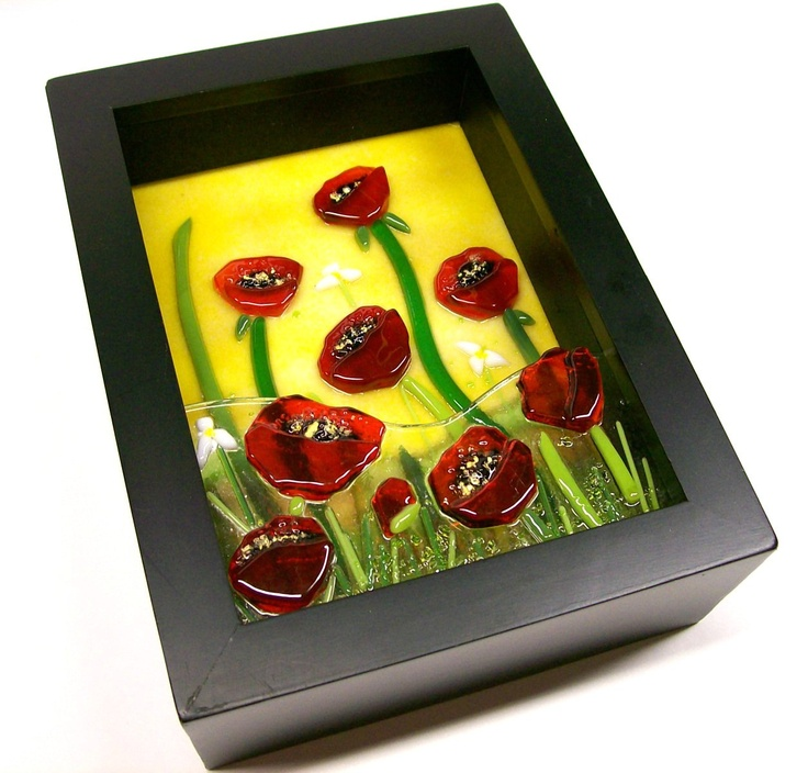 Fused Glass Painting (Red Poppies).