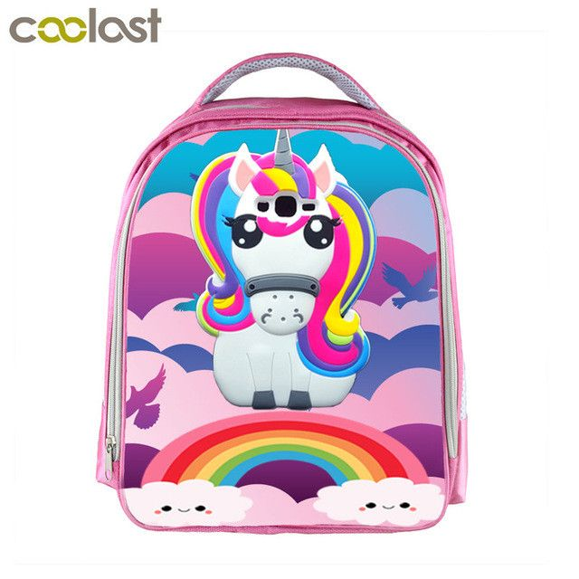 f1bfa268c46c 3D Print Backpack for Girls Unicorn Bag cartable enfant Kids School Bags  Animal Pattern Kawaii mochila