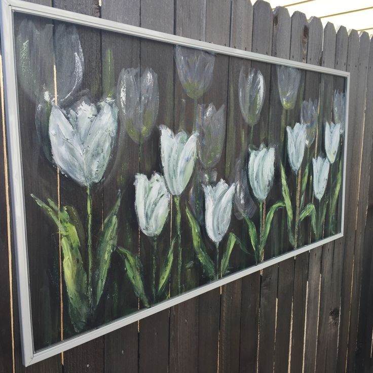 """Recycle Old window Screen """" White Tulips """"hand painting Screen ,flowers,screen,outside decor by RebecaFlottArts on Etsy https://www.etsy.com/listing/219140939/recycle-old-window-screen-white-tulips"""