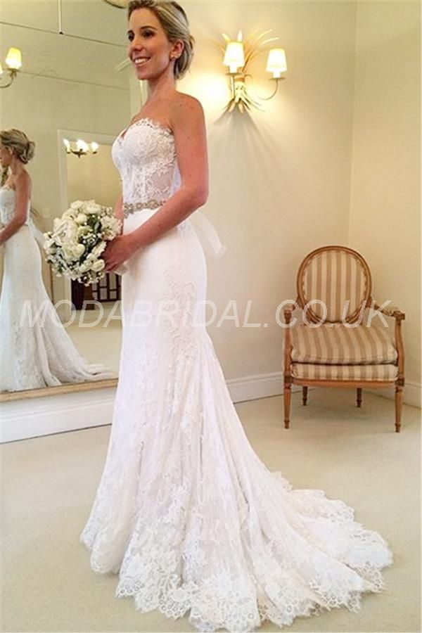 Fabulous Lace Mermaid Sweetheart Wedding Dresses Crystals Beaded Belt Court Train Bridal Gowns New Trumpet Mermaid Wedding Dress Mermaid Wedding Dresses Wedding