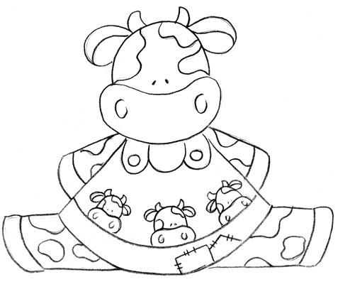 Riscos de vacas para pintura em tecido