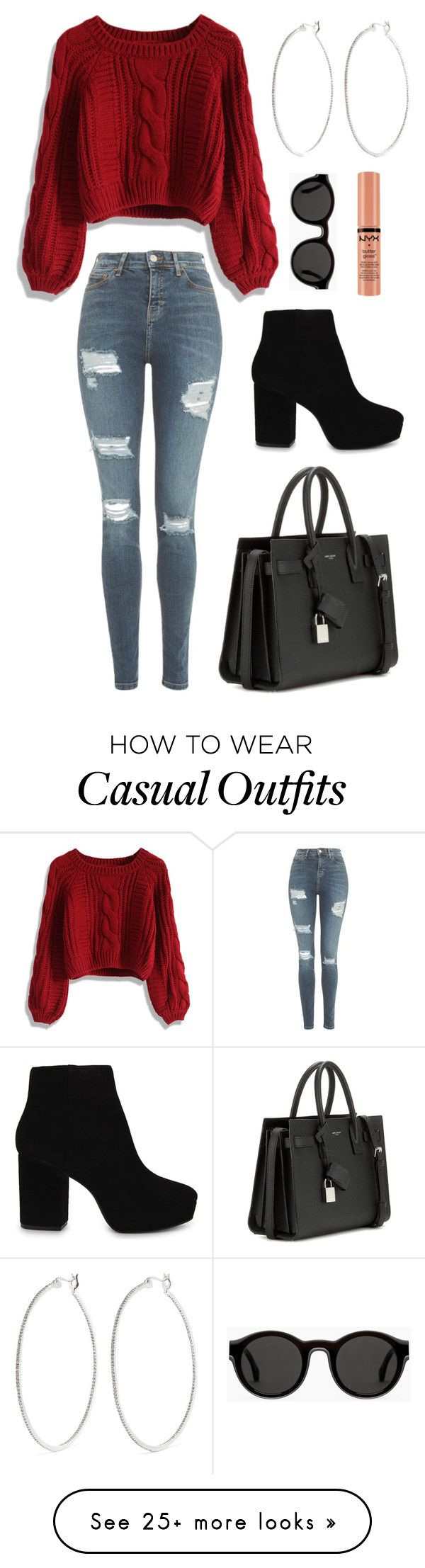 """""""Casual Thanksgiving"""" by toxicdiamond80 on Polyvore featuring Chicwish, Topshop, ALDO, Yves Saint Laurent, Kenneth Jay Lane, Mykita and NYX"""