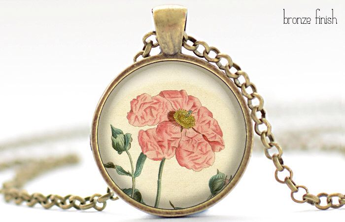 Vintage Pink Flower Necklace, Floral Art Pendant, Flower Jewelry (027) by FrenchHoney on Etsy https://www.etsy.com/listing/125239929/vintage-pink-flower-necklace-floral-art
