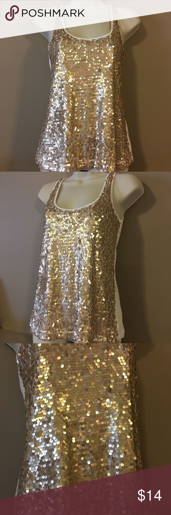 Express: Gold sequin tank top EUC: Gold sequin tank top. It would look great with a cardigan for the holidays! Express Tops Tank Tops