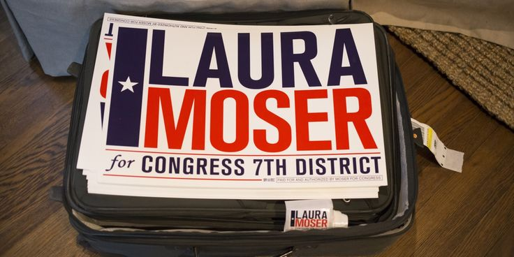 HOUSTON, TX -- MAY 22, 2017: Laura Moser's campaign signs on a bag in her home in Houston, Monday May 22, 2017.  Moser is returning to Houston from Washington where her husband worked for the Obama Whitehouse, and is starting her effort to run for the 7th Congressional District in Texas currently occupied by Republican John Culberson. (Photo by Michael Stravato/For the Washington Post)