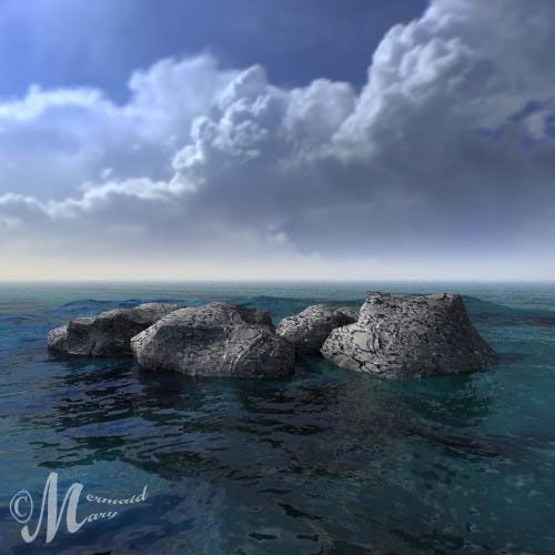 Landscape rendered in Bryce 3D using a Sunless Hdri sky from this pack