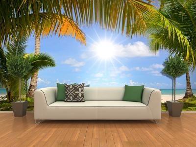 Xdecor Pláž s palmami (126 x 83 cm) -  Fototapeta na stěnu