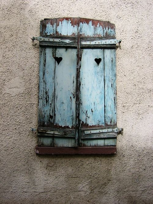 Old blue shutters with cutout heart | via I Wanna Wear Sandals tmblr.
