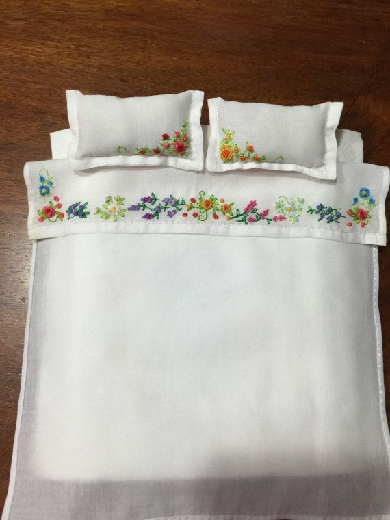 Dollhouse 1:12 linen double bed set by ViolasNeedfulThings on Etsy