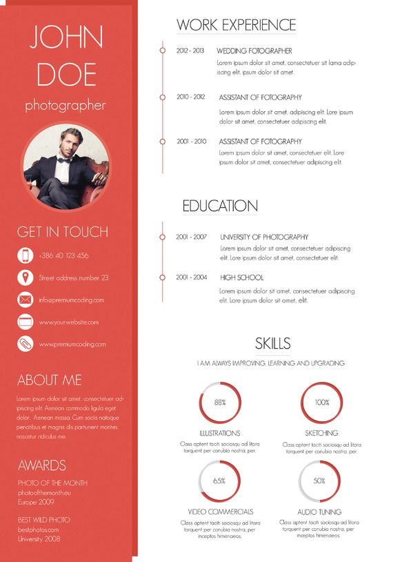 a colorful and modern resume  creativework247
