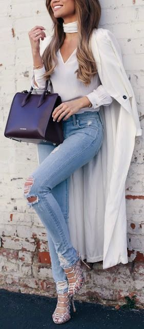 #fall #outfits / white trench coat + denim